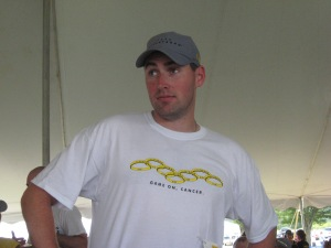 Dave modeling the stylish Game On Cancer t-shirts and the Livestrong Hat!