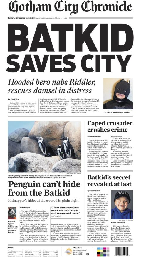 San Francisco Chronicle front page!